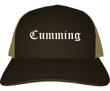 Cumming Georgia GA Old English Mens Trucker Hat Cap Brown