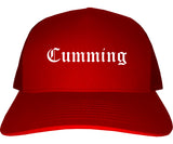 Cumming Georgia GA Old English Mens Trucker Hat Cap Red