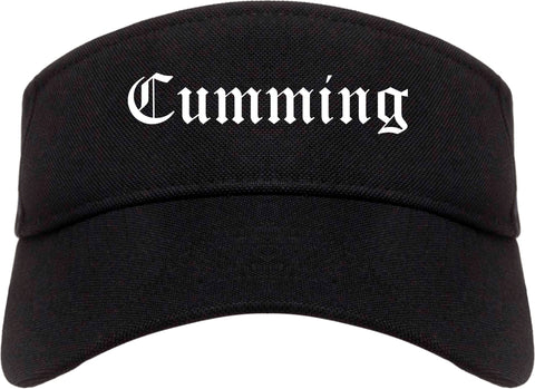Cumming Georgia GA Old English Mens Visor Cap Hat Black