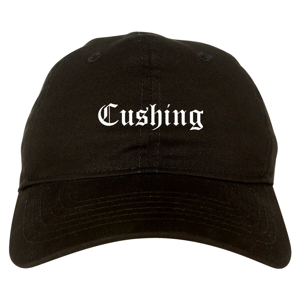 Cushing Oklahoma OK Old English Mens Dad Hat Baseball Cap Black