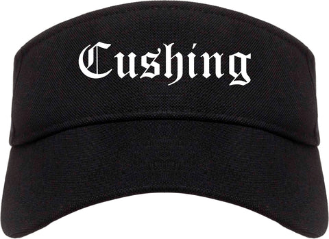 Cushing Oklahoma OK Old English Mens Visor Cap Hat Black