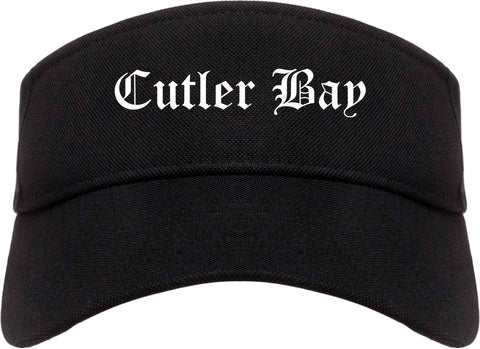 Cutler Bay Florida FL Old English Mens Visor Cap Hat Black