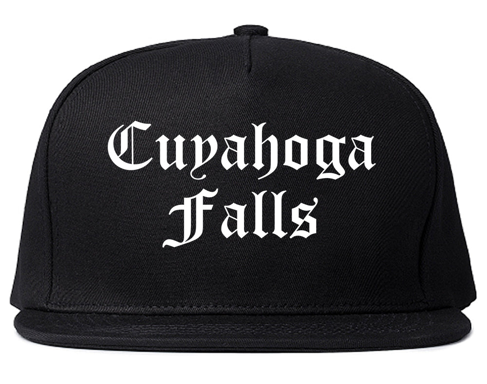 Cuyahoga Falls Ohio OH Old English Mens Snapback Hat Black