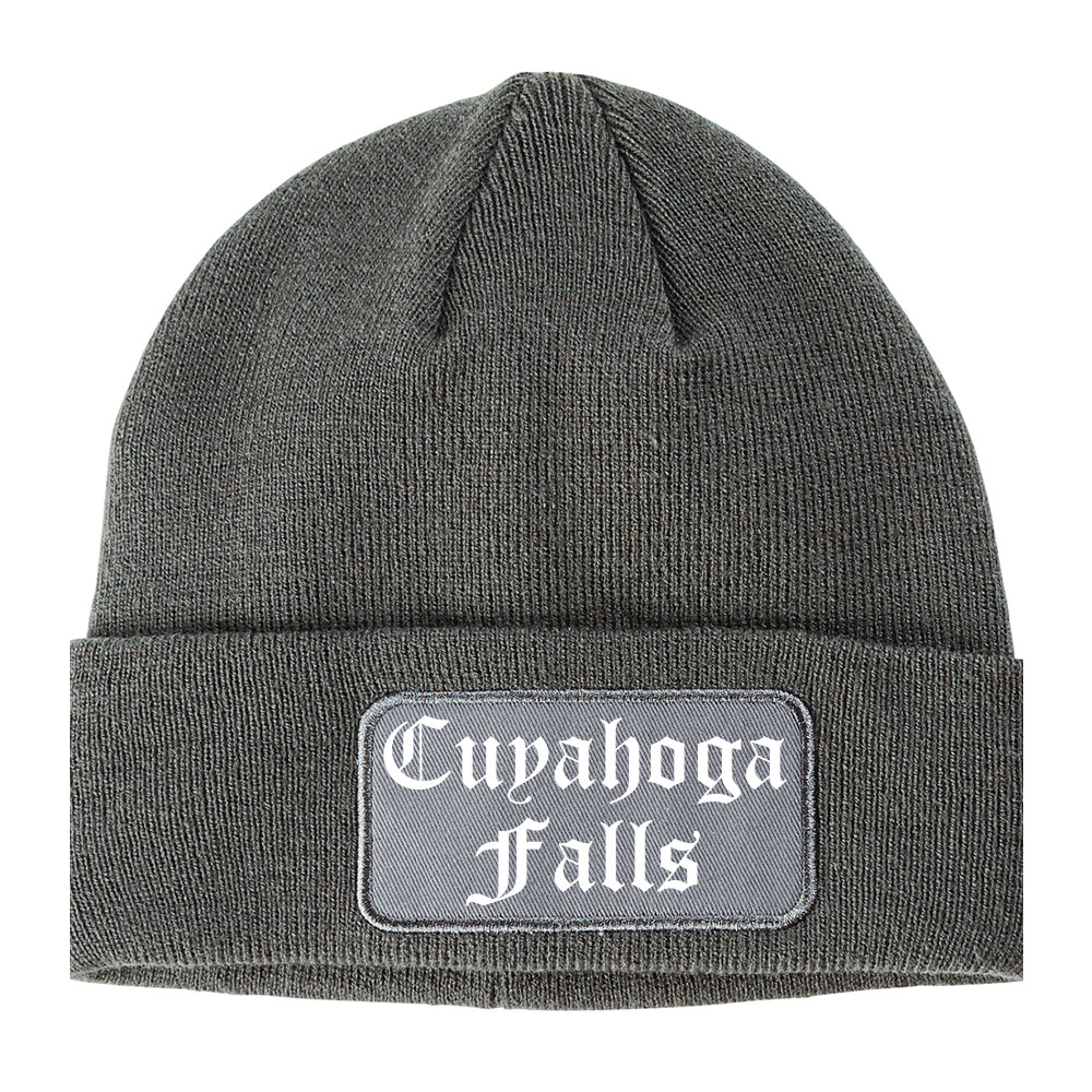 Cuyahoga Falls Ohio OH Old English Mens Knit Beanie Hat Cap Grey