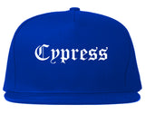 Cypress California CA Old English Mens Snapback Hat Royal Blue