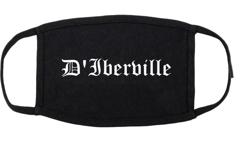 D'Iberville Mississippi MS Old English Cotton Face Mask Black