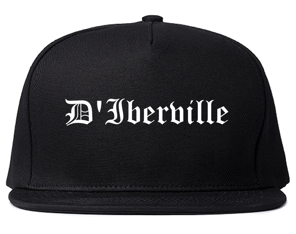 D'Iberville Mississippi MS Old English Mens Snapback Hat Black