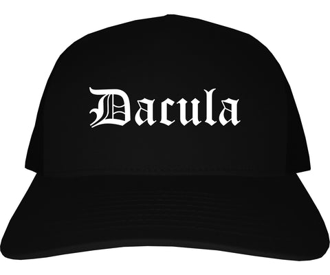 Dacula Georgia GA Old English Mens Trucker Hat Cap Black