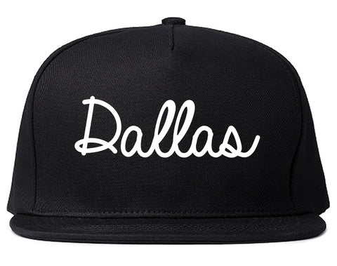 Dallas Oregon OR Script Mens Snapback Hat Black
