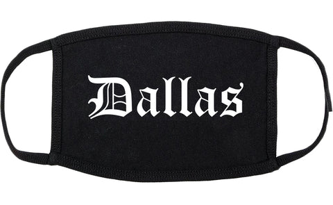 Dallas Texas TX Old English Cotton Face Mask Black