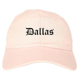 Dallas Texas TX Old English Mens Dad Hat Baseball Cap Pink