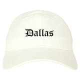 Dallas Texas TX Old English Mens Dad Hat Baseball Cap White