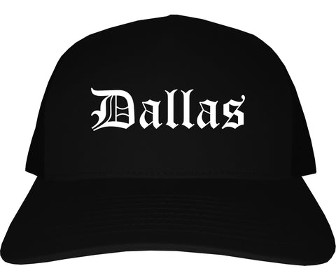 Dallas Texas TX Old English Mens Trucker Hat Cap Black