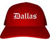 Dallas Texas TX Old English Mens Trucker Hat Cap Red