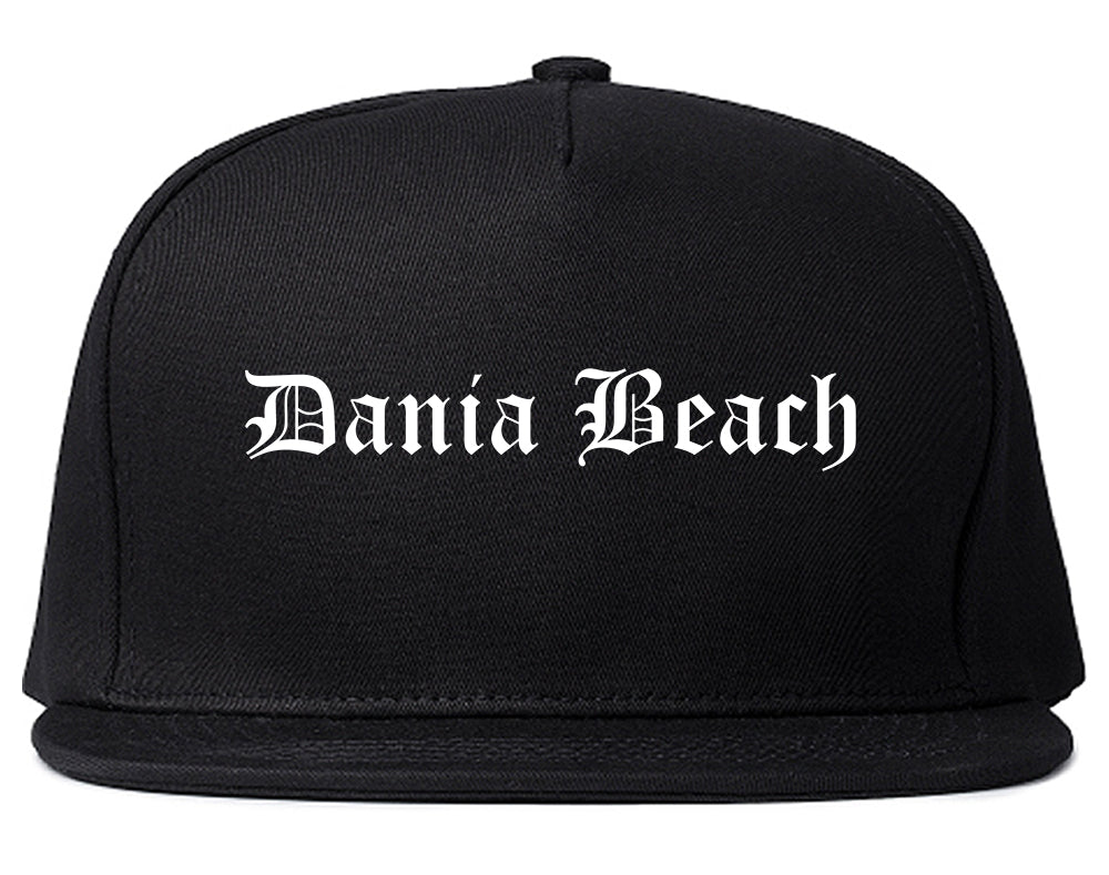 Dania Beach Florida FL Old English Mens Snapback Hat Black