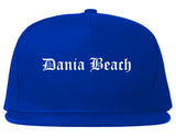 Dania Beach Florida FL Old English Mens Snapback Hat Royal Blue
