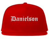 Danielson Connecticut CT Old English Mens Snapback Hat Red