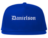 Danielson Connecticut CT Old English Mens Snapback Hat Royal Blue