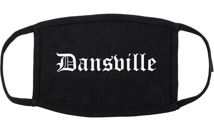 Dansville New York NY Old English Cotton Face Mask Black