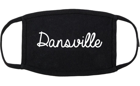 Dansville New York NY Script Cotton Face Mask Black