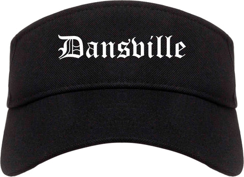 Dansville New York NY Old English Mens Visor Cap Hat Black