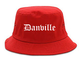 Danville Illinois IL Old English Mens Bucket Hat Red