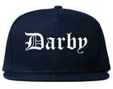 Darby Pennsylvania PA Old English Mens Snapback Hat Navy Blue