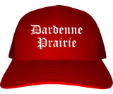 Dardenne Prairie Missouri MO Old English Mens Trucker Hat Cap Red