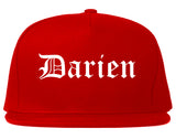 Darien Illinois IL Old English Mens Snapback Hat Red