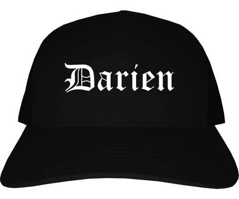 Darien Illinois IL Old English Mens Trucker Hat Cap Black