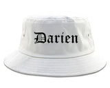 Darien Illinois IL Old English Mens Bucket Hat White