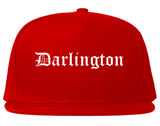 Darlington South Carolina SC Old English Mens Snapback Hat Red