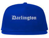 Darlington South Carolina SC Old English Mens Snapback Hat Royal Blue