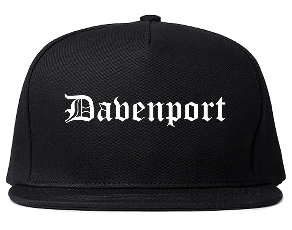 Davenport Iowa IA Old English Mens Snapback Hat Black