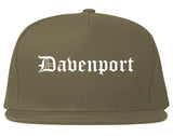 Davenport Iowa IA Old English Mens Snapback Hat Grey