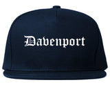 Davenport Iowa IA Old English Mens Snapback Hat Navy Blue