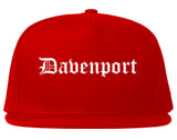 Davenport Iowa IA Old English Mens Snapback Hat Red