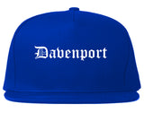 Davenport Iowa IA Old English Mens Snapback Hat Royal Blue