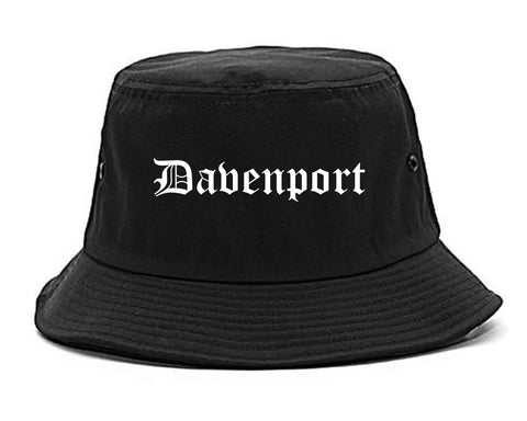 Davenport Iowa IA Old English Mens Bucket Hat Black