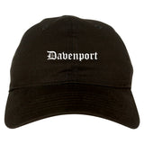 Davenport Iowa IA Old English Mens Dad Hat Baseball Cap Black