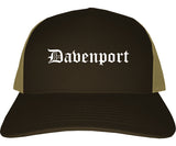 Davenport Iowa IA Old English Mens Trucker Hat Cap Brown