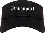Davenport Iowa IA Old English Mens Visor Cap Hat Black