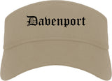 Davenport Iowa IA Old English Mens Visor Cap Hat Khaki