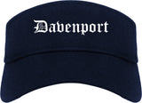 Davenport Iowa IA Old English Mens Visor Cap Hat Navy Blue