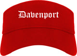Davenport Iowa IA Old English Mens Visor Cap Hat Red