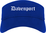 Davenport Iowa IA Old English Mens Visor Cap Hat Royal Blue