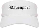 Davenport Iowa IA Old English Mens Visor Cap Hat White