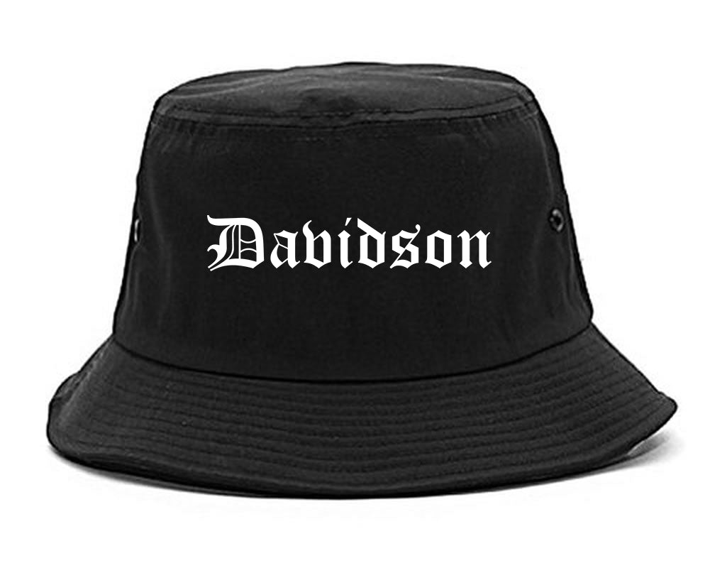Davidson North Carolina NC Old English Mens Bucket Hat Black