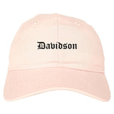 Davidson North Carolina NC Old English Mens Dad Hat Baseball Cap Pink