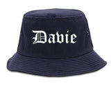 Davie Florida FL Old English Mens Bucket Hat Navy Blue